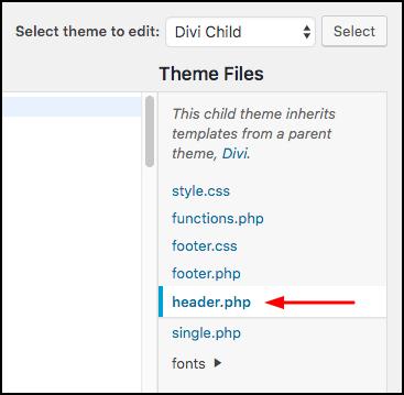 edit theme header