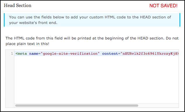 insert code in header