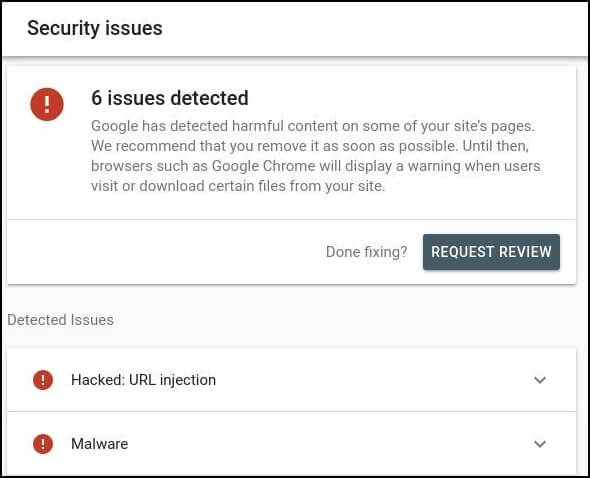 security issues search console