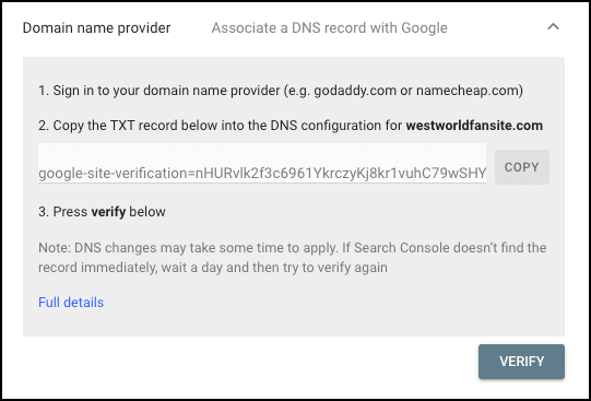 site verification domain name provider