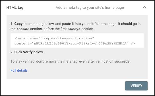 site verification html tag