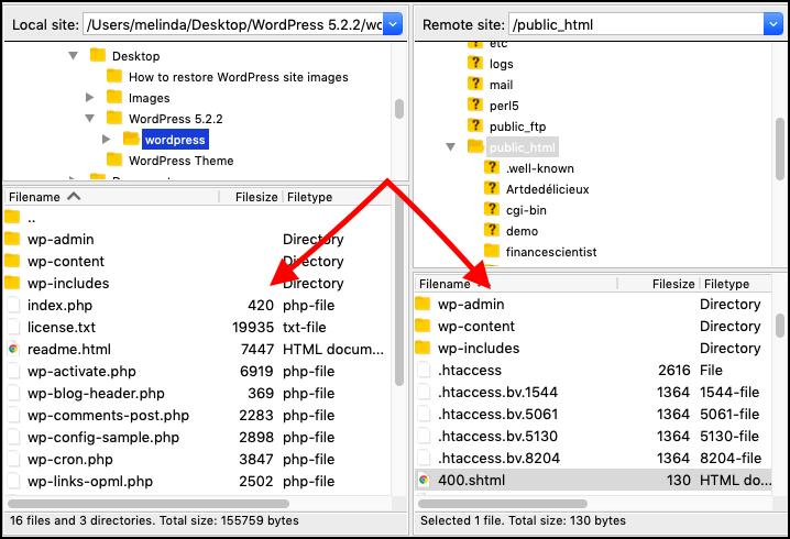 public html folder in filezilla