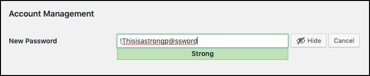insert strong wordpress password