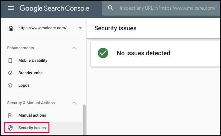 security issues option in google search console