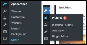 plugins in wp-admin dashboard