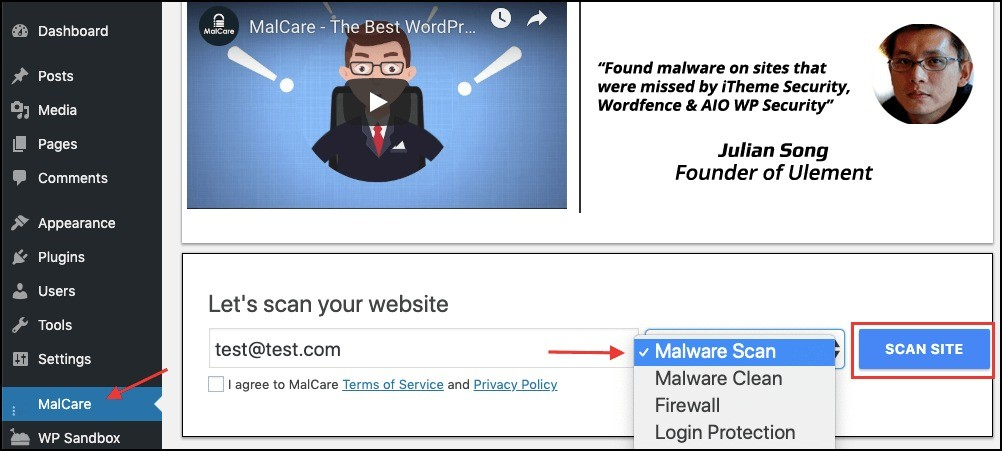 use malcare scan from wp-admin dashboard