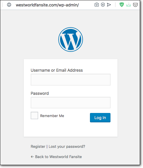 wordpress username password