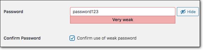 wordpress weak password for WordPress brute force attacks