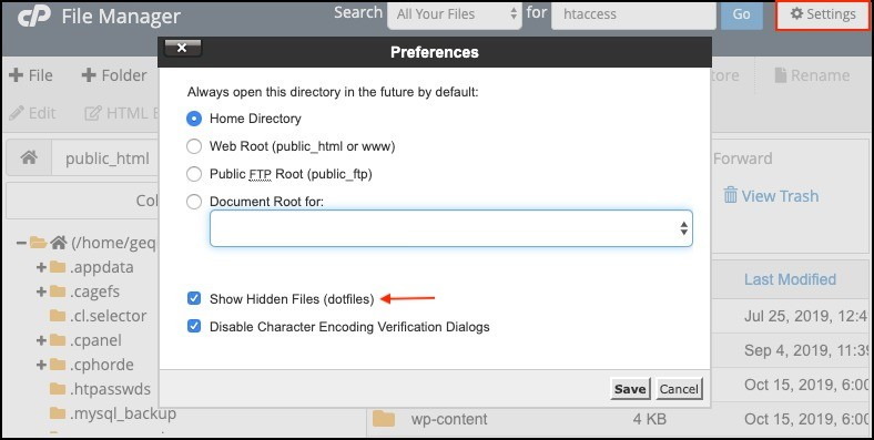 show hidden files in the file manager