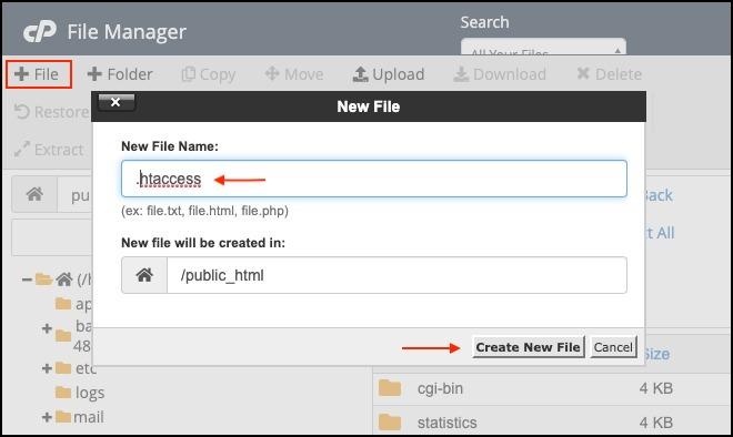 create a htaccess file