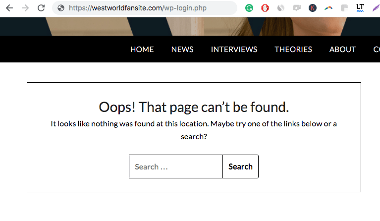 wpadmin url throwing a 404 error after being changed