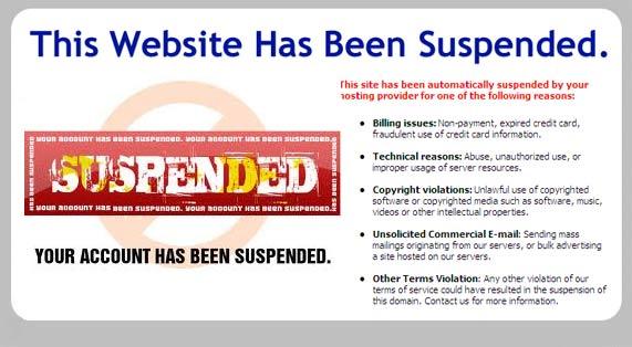 web host account suspension