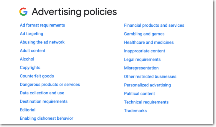 Google Advertising Policies List