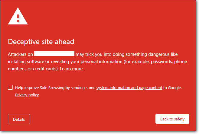 google blacklist for the 'site ahead contains malware' warning