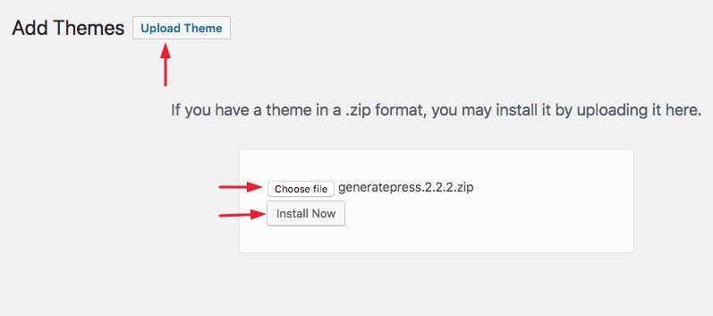 upload theme button, choose file option, install now
