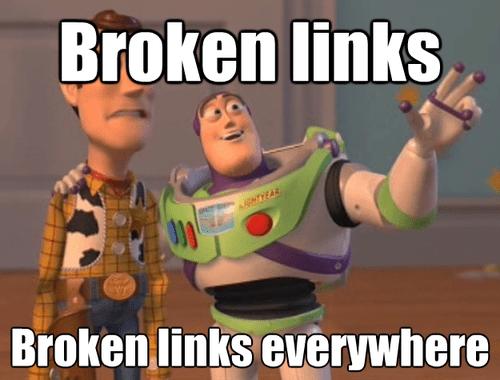 website broken links