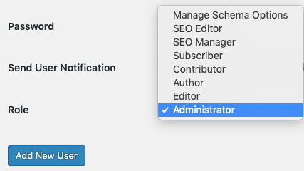 Setting up the role for an administrator