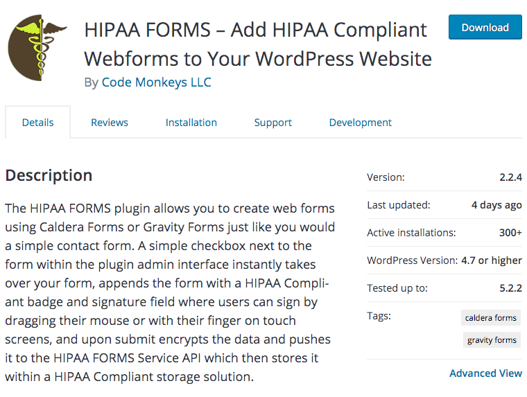 HIPAA Forms plugin fir HIPAA compliant website