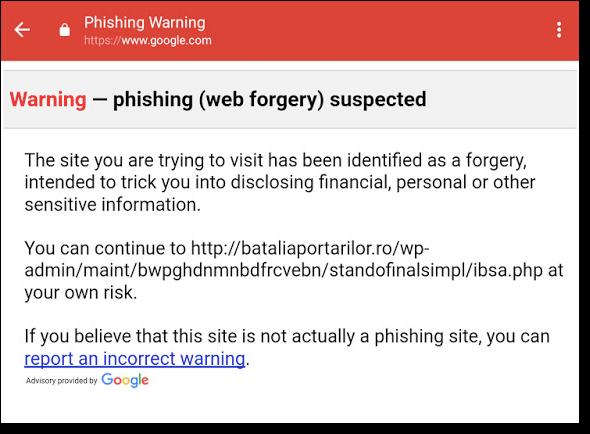 gmail anti-phishing warning
