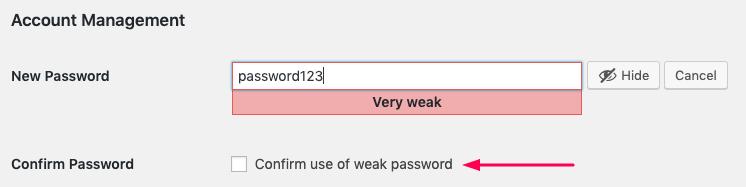 creating a weak password