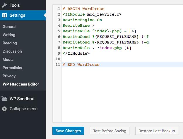 edit htaccess file using plugin