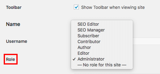 Setting up a user's role