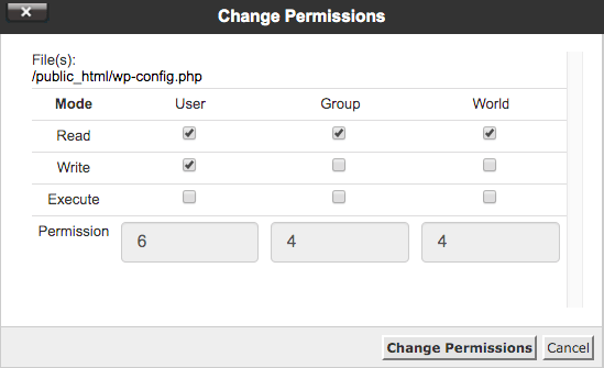 secure a wordpress website by changing file permissions