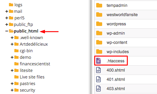 htaccess file location in public_html folder