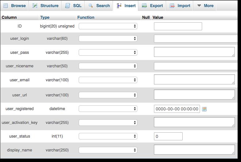 insert elements phpmyadmin database
