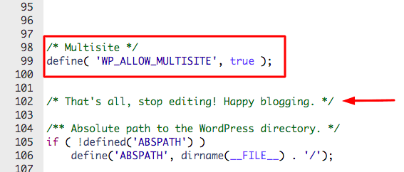 allow multisite in wp-config file