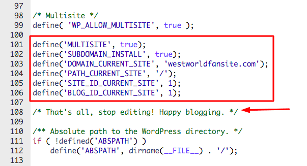 multisite configuration in wp-config file