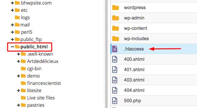 htaccess file in the public_html