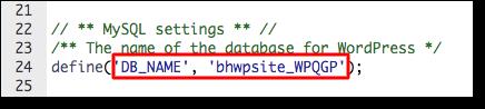 wpconfig database name