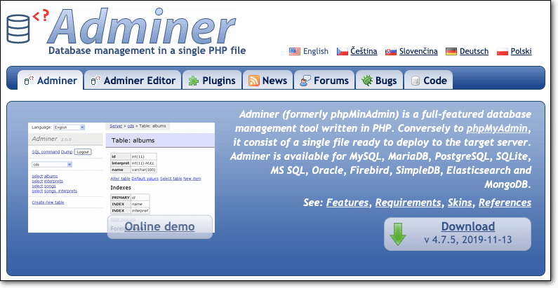 adminer website