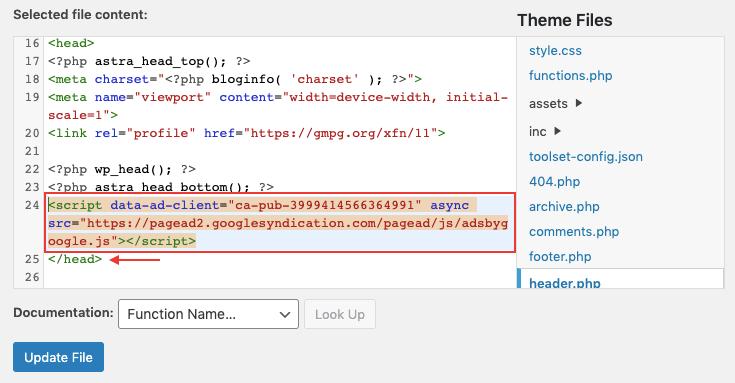 edit wordpress theme editor to add google adsense