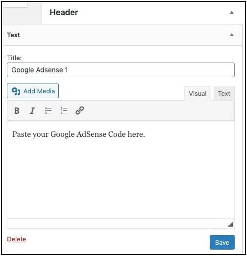 paste wordpress google adsense code