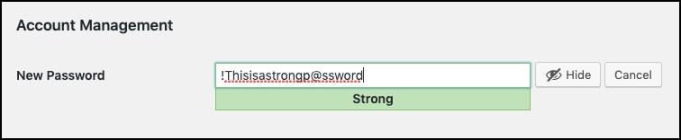 strong password wordpress