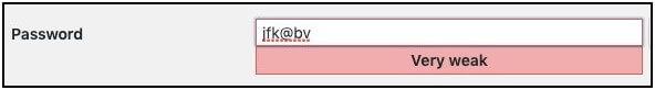 wordpress weak password