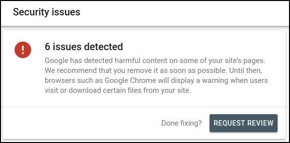 search console security issues for hacked website