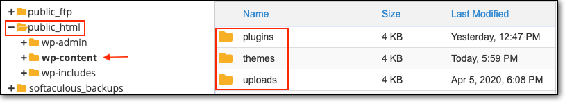 wp-content plugins themes and uploads