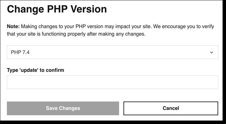 changer la version php