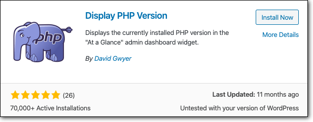 afficher la version php