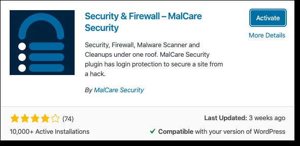malcare plugin for malicious code scan