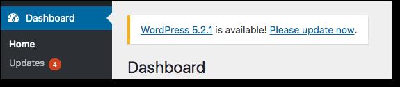 wordpress core update notification
