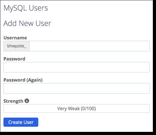 create new user for the database
