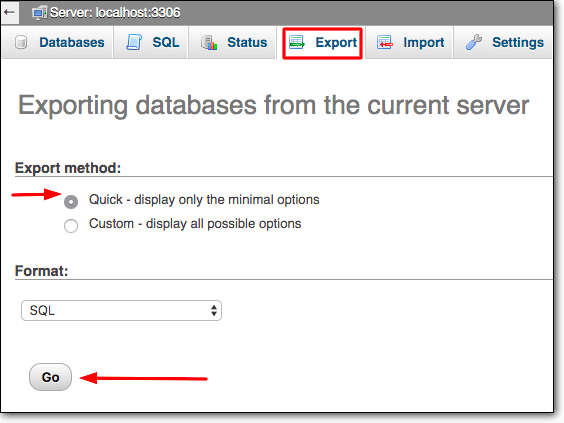 download databases before creating a wp staging enviroment