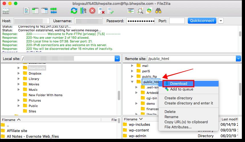 download all wordpress files using ftp