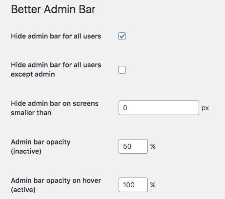Better Admin Bar Plugins options