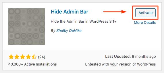 Hide Admin Bar Plugin in WordPress Repository