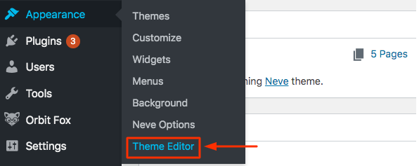 Theme Editor from Appearance Menu